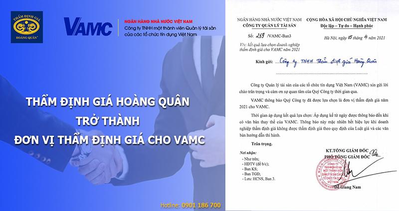 Thẩm định giá Hoàng Quân trở thành đơn vị Thẩm định giá tài sản cho VAMC